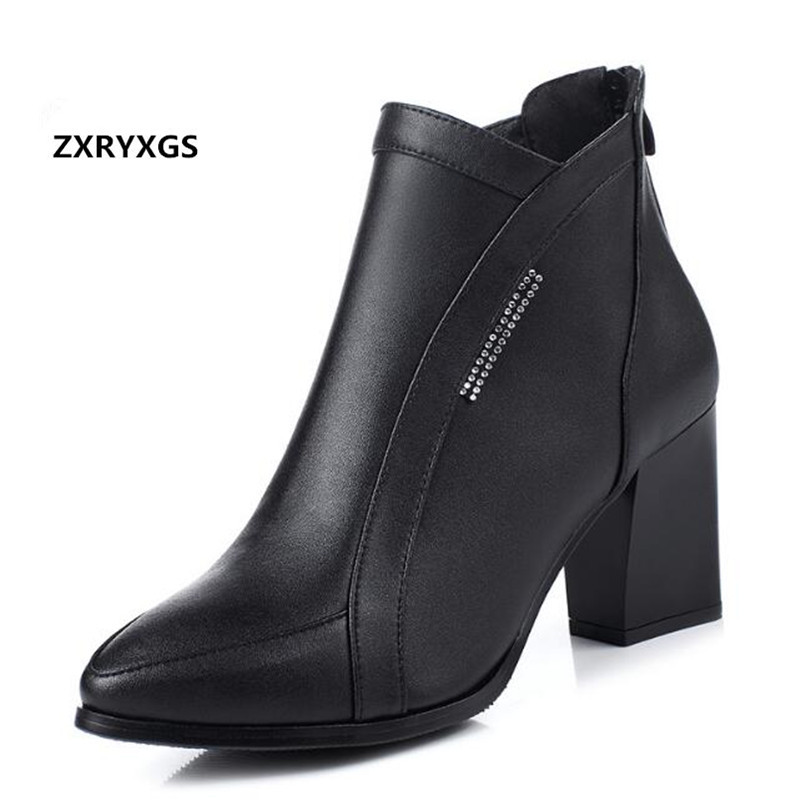 Stylish and elegant pointed genuine leather shoes women boots high heeled boots 2018 new famous autumn winter boots ankle boots autumn winter boots soft leather fur boots women s new thin high heeled ankle boots fashion patchwork shoes boots women 2016