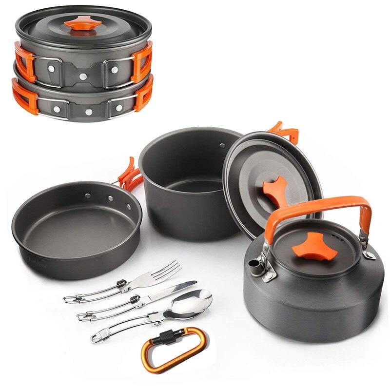 VILEAD extérieur Camping Set Pot théière combinaison 2-3 personne Set Pot avec théière vaisselle pêche couverts Camping série