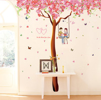 ISHOWTIENDA 3D Love Tree Wall Stickers Romance Decoration Wall Poster Home Decor DIY Tree Hunging Photoes Cherry tree