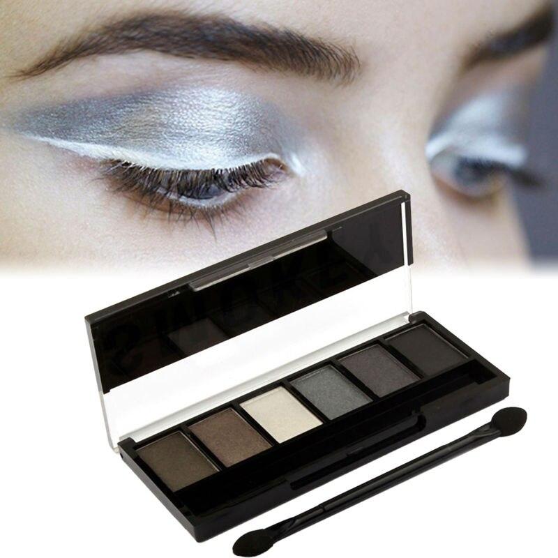Waterproof 6 Colors Glitter Eyeshadow Palette Glamorous Smoky Natural Metallic effect Eye Shadow Smoky By Sugar Box himmering