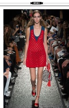 YSD021 Women's Slim sleeveless knitting  red color hollow net dresses and free Camisole Bottoming shirt lining/3size