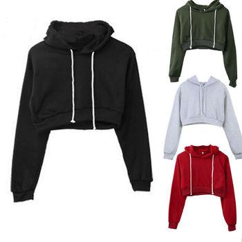 2019 Women Sports Sweatshirt Fashion Hooded Full Wear Pullovers Multiple Colors Plain Hangover Crop Top Hoodie Sweatshirt Hot