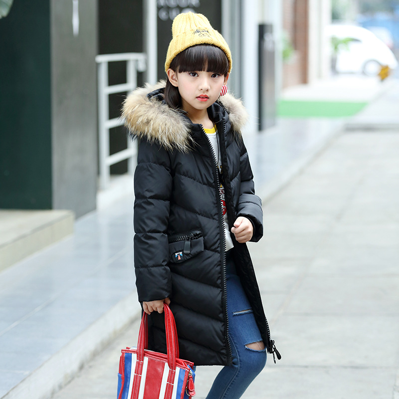2017 Winter Teenage Girl Down Jacket Brand Long Hooded Thick Warm Children Jacket For Girl 5-14 Years Kids Outerwear Coat russia winter boys girls down jacket boy girl warm thick duck down