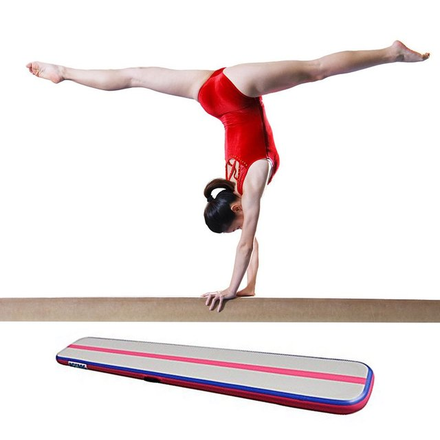 80c45221e910 Inflatable Balance Beam Cushion Training Mattress Air Floor Gymnastics Mat  Trick Pad For Somersault Sports With Electric Pump