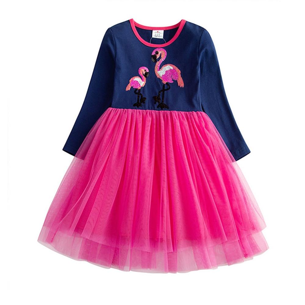 VIKITA Girls Dress Long Sleeve Kids Flower Dresses Children Unicorn Vestidos 2019 Girls Dresses Autumn Kids Dress For Girl