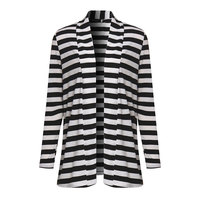 Fashion Autumn Outerwear Women Long Sleeve Striped Cardigan Casual Elbow Patchwork Knitted Sweater Plus Size