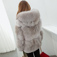 High quality thick fox fur coats women hooded natural rex rabbit fur jackets woman real leather fur overcoat 2018 autumn winter