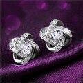 New Fashion Elegant Women's Earrings Silver 925 Cubic Zirconia True Love Knot Stud Earrings Wedding Cocktail Party Jewelry