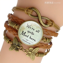 Were All Quite Mad Here Quote Jewelry  Alice In Wonderland Glass Cabochon Combination Bracelet Handmade