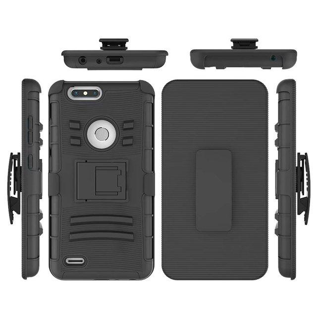 ZTE Z982 Case, ZTE Blade Z MAX Holster, Two Layer Hybrid Armor Hard Cover with Built In Kickstand for ZTE Zmax Pro 2 Z982