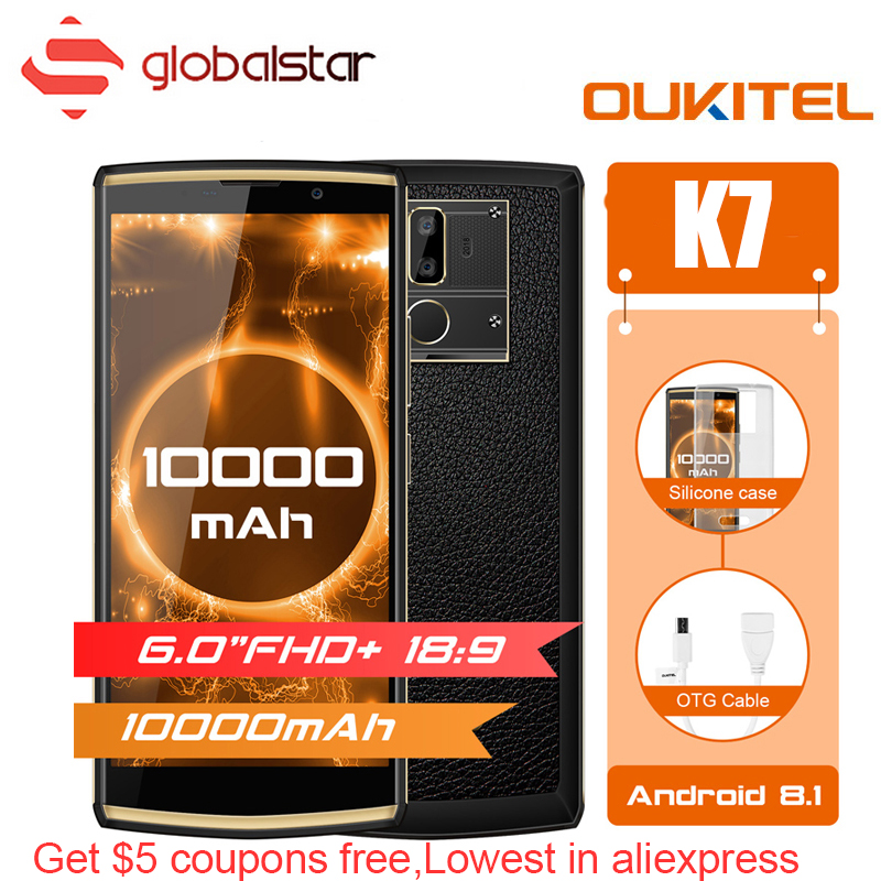 Oukitel K7 10000 mah Grosse Batterie Smartphone MTK6750T Octa Core 6.0 pouce FHD + Affichage 4g RAM 64g ROM Android 8.1 OTG 4g Téléphone Portable