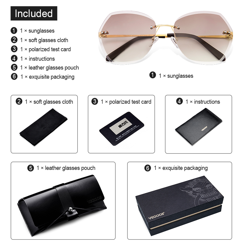 VEGOOS Fashion Sunglasses for Women Designer UV400 Protection Retro Ladies Shades with HD Nylon Lens Rimless Eyewear Glass 3193 in Women 39 s Sunglasses from Apparel Accessories
