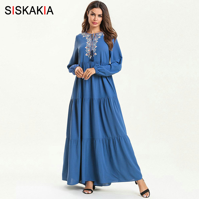 Siskakia Multi-layer Draped Patchwork Muslim Long Dress Ramadan Solid Ethnic Geometric Embroidery Maxi Dresses Long Sleeve 2019
