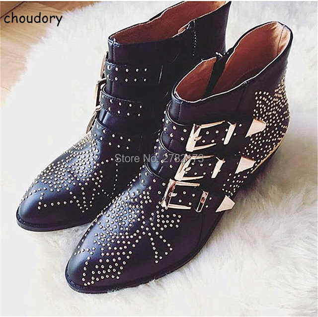 studded women boots 2018 new black red white ladies shoes. Black Bedroom Furniture Sets. Home Design Ideas