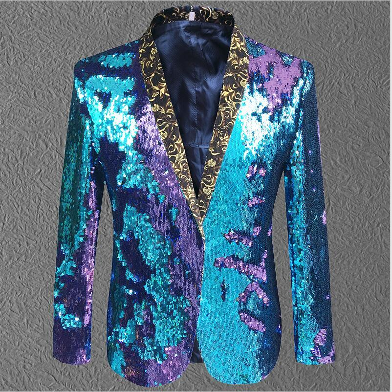 2018 New <font><b>Men</b></font> <font><b>Jacket</b></font> <font><b>Sequin</b></font> Gold <font><b>Green</b></font> Blazer <font><b>Men</b></font> Suit Coat Male Costume Prom Wedding Groom Outfit Singer Black Party Stage Coat image