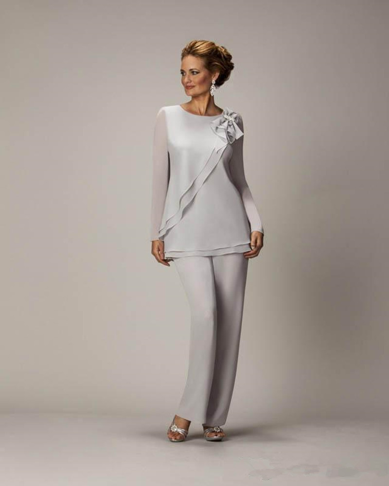Hot Silver Mother S Pants Suit For Of The Bride Groom Las Womens Chiffon Wedding