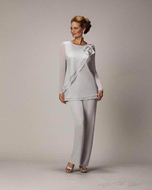 9e2893f375b9 Poco Costoso caldo Argento Madre Vestito di Pantaloni Per La madre Della  Sposa Sposo delle Signore