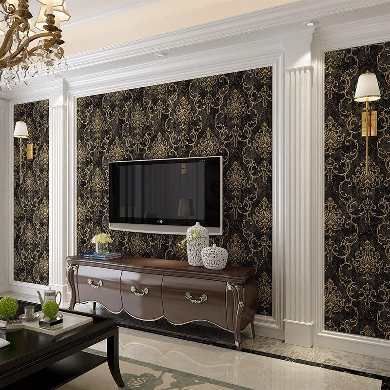 Carta da parati européen 3D stéréoscopique Floral papiers muraux pour salon chambre murs Mural decoracion noir casa moderna