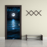 Funlife Moon And Stars Wall Paper Waterproof Mural Poster Bathroom Door Renovation Wall Art Imitation 3D