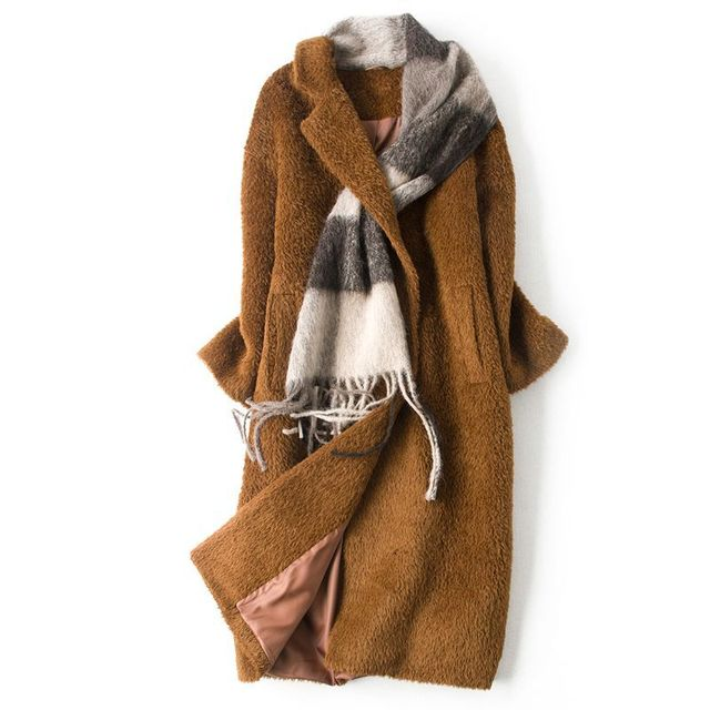 3de1054692a0c 2019 New Arrival Winter Wool Coat Women Fashion Chic Scarf Alpaca Fur  Collar Outerwear High-quality Long Wool Jacket Women