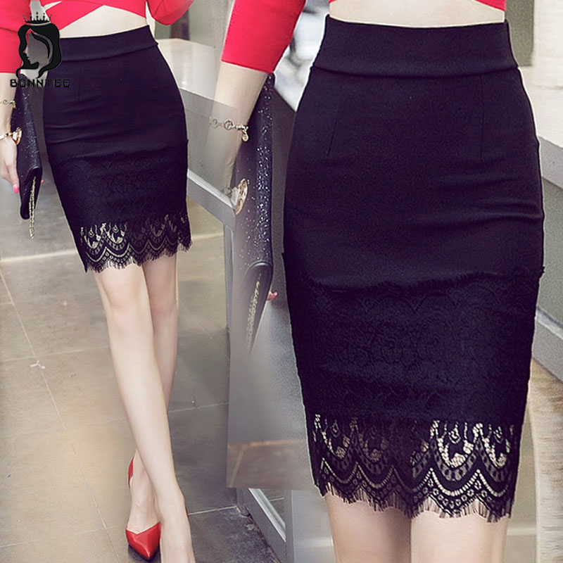 Plus Size XS-5XL Women Slim Skirts Womens Solid Color Lace Pencil Skirt Female Casual High Waist Females Elegant Korean Style