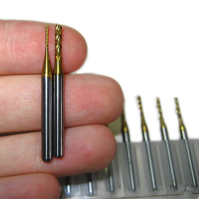 Carbide Cnc Pcb Drill Bits 3.175mm (1/8″) Shank Router Bits10pcs Titanium Coated Metric End Mill Milling Cutters Cut 0.8-2.0mm