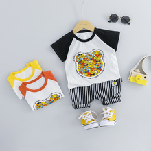 ZWXLHH 2019 Summer New Baby Boy Girls Clothing Sets Children Kids Clothes Suit Toddle Infat Bear Shirt  Shorts  Casual Suit bear leader kids clothes 2018 fashion sleeveless summer style baby girls shirt shorts belt 3pcs suit children clothing sets