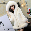 Winter Women Pink Faux Fur Coat Female Fashion Luxury Slim Faux Fox Fur Collar Hooded Coat Parka Thick Warm Fur Overcoat PC110