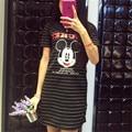 Listrado Mini Mouse 2017 Dos Desenhos Animados Imprimir Vestidos de Festa Da Moda De Festa Femme Verão Sexy Clube Camiseta Mulheres Robe Ete vestidos
