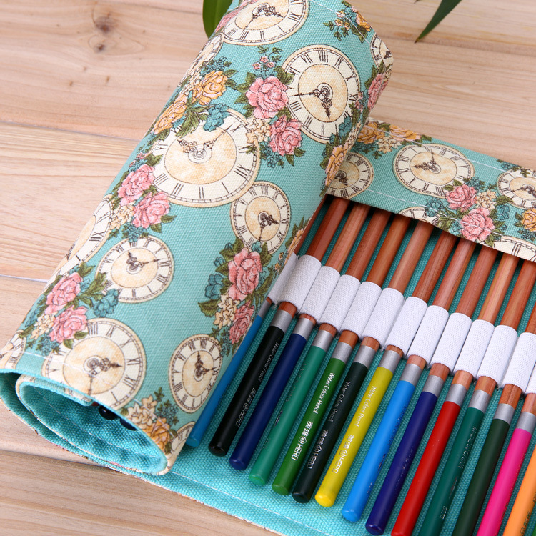 36 48 72 holes pencil case portable canvas roll up pen for Canvas roll for painting