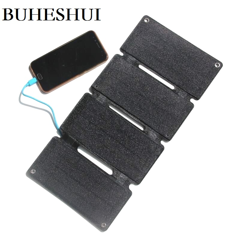 BUHESHUI Portable Foldable 12W ETFE Solar Panel Charger For Mobile Phone Power Bank Super Slim Solar Charger Waterproof image