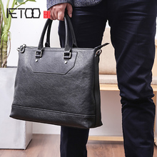 AETOO Men's handbag leather business casual single shoulder bag horizontal large capacity head layer Cowhide Briefcase men s leather cross style square zipper handbag cowhide men s business package solid color large capacity briefcase