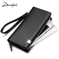 Deelfel New Genuine Leather Men Wallets Man Famous Long Portomonee With Coin Zipper Clutch Bags Male Purses Card Holder Walet