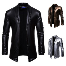 Man Leaher jackets Men Halloween Clothes PU Cross-Border for Cutout Figure fashion and beautiful man leather trench coat