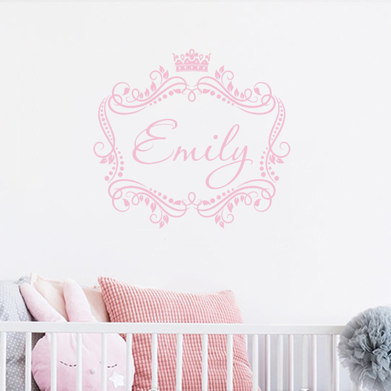 Personalized Girls Name with crown removable vinyl wall decal