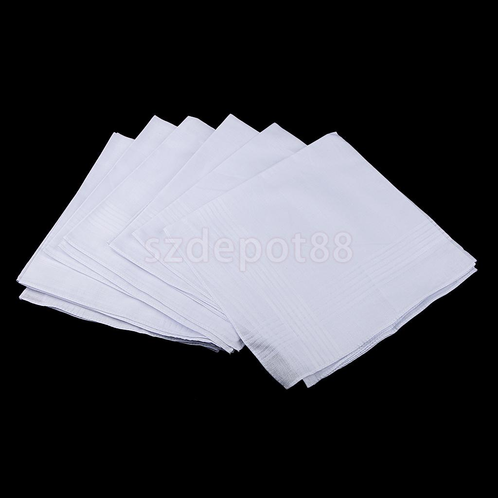 12pcs Men Women 100% Cotton Handkerchiefs Soft Washable White Hanky Hankie Hand Towel