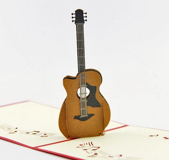 3D Pop Up Laser Cut Vintage Cards Guitar Postcards Happy Birthday Greeting Thank You For Lover Teacher Souvenir