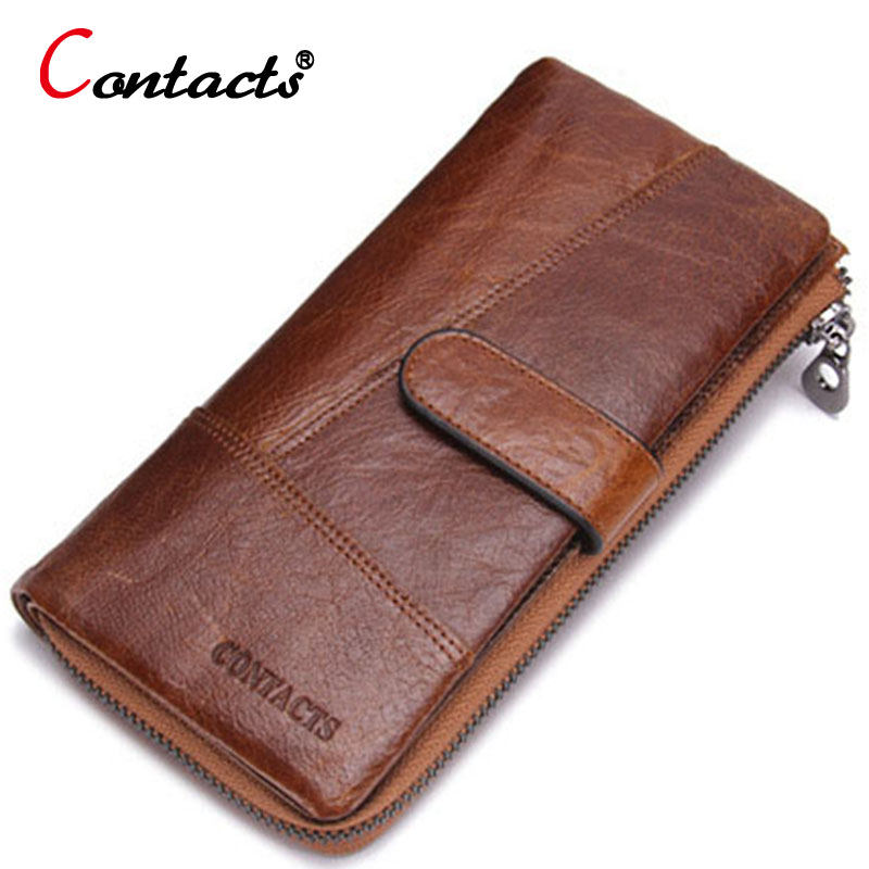 CONTACT S Men Wallet Vintage Long genuine leather Clutch Zipper Card Holder Multifunction Purses For Cents