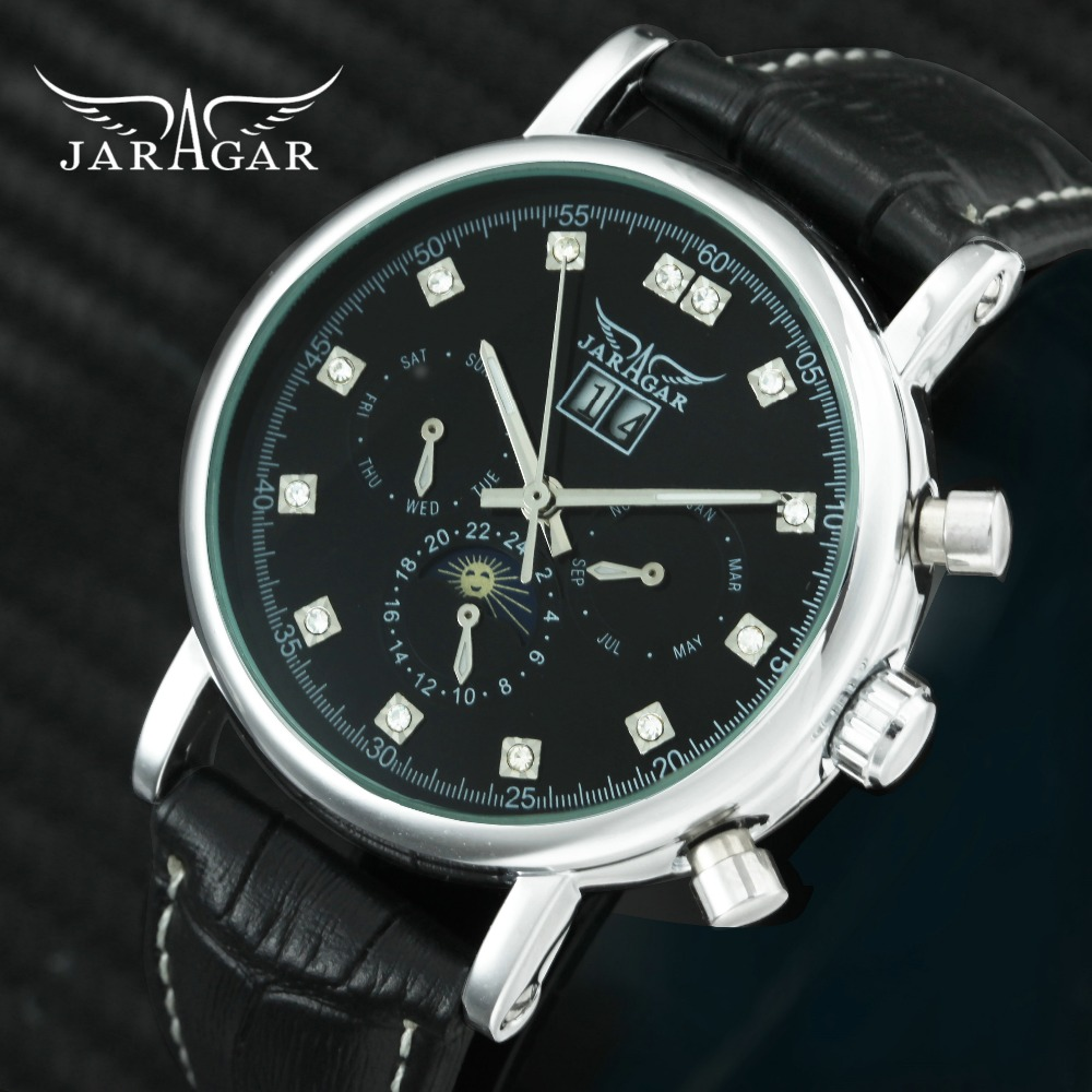 JARAGAR 2019 Classic Dress Auto Mechanical Leather Strap Working 2 Sub-dial Rhinestone Decoration Mens Watches Top Brand Luxury JARAGAR 2019 Classic Dress Auto Mechanical Leather Strap Working 2 Sub-dial Rhinestone Decoration Mens Watches Top Brand Luxury
