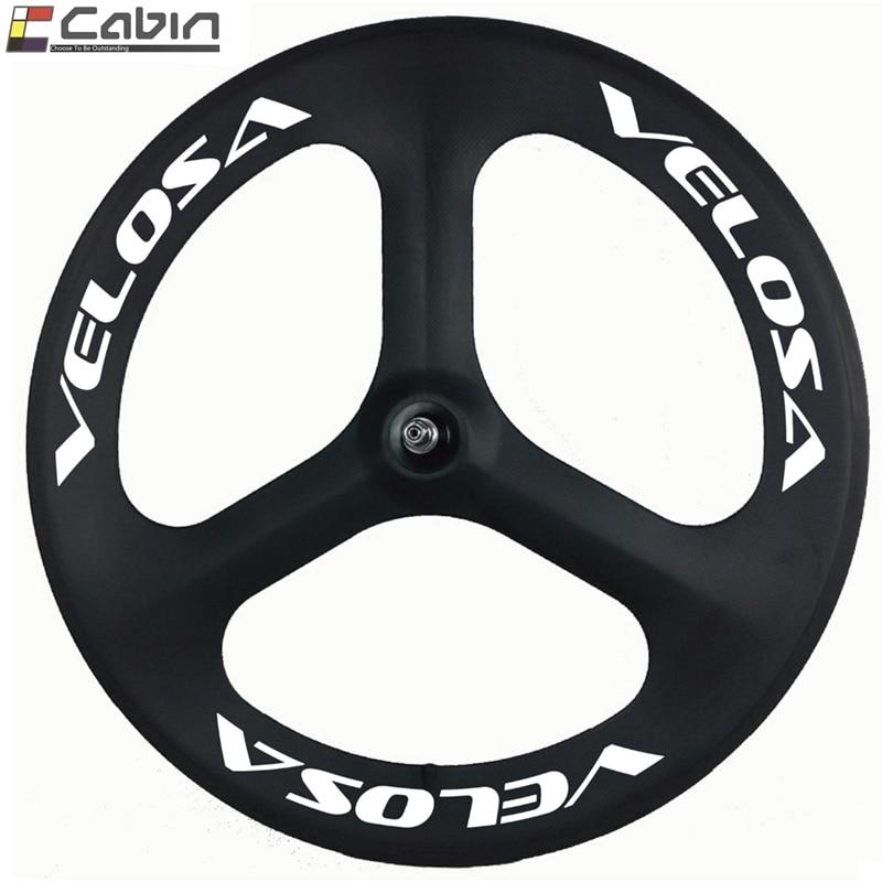 Velosa 70mm depth carbon Tri spoke wheel for 700C clincher road track bike bicycle wheel 3