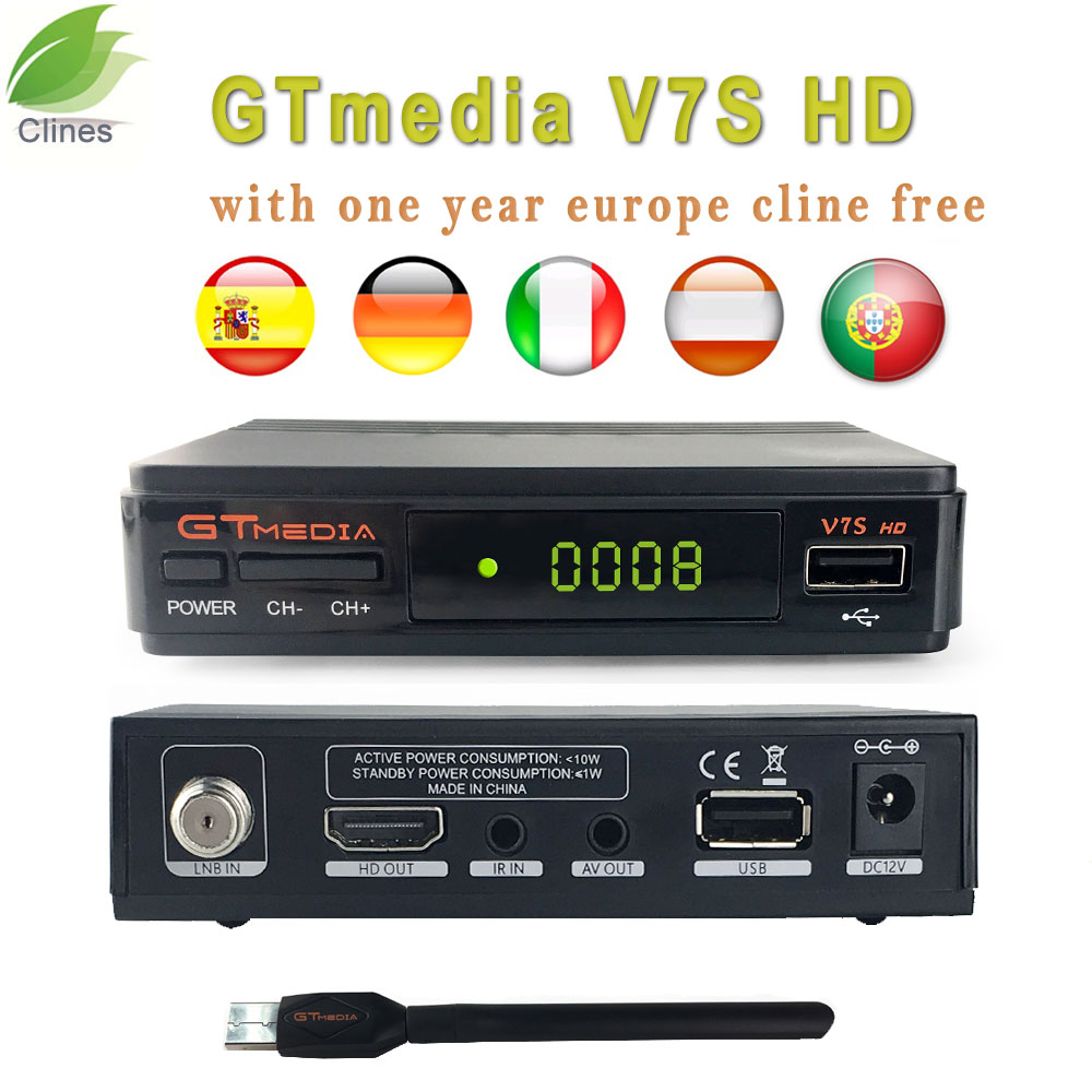 GTmedia V7S HD DVB S2 Satellite Receiver freesat 1080P 1 year 7 cccam clines Receptor USB WIFI Support PowerVu YouTube Biss key in Satellite TV Receiver from Consumer Electronics