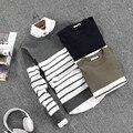2016 nuevo llega la moda 100% de algodón fino rayas hombres suéter de manga larga hombre knit pullover gimnasio géneros de punto ocasionales del tamaño grande 3XL