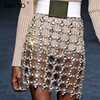 Sibybo Shiny Metal Crystal Diamonds Skirt Women Glitter Waist Chains Sequins Skirt Luxury Hollow Out Party