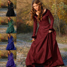 Vintage Women Medieval Victorian Long Sleeve Ball Gown Renaissance Gothic Dress Female Retro Plus Size Theatre Long Maxi Dress(China)