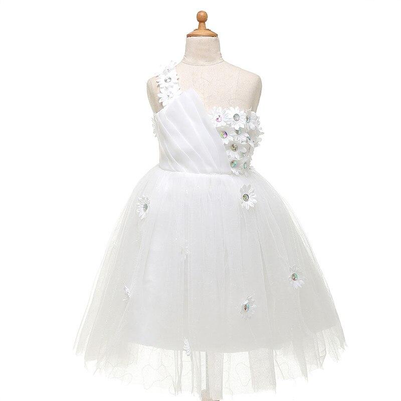 White One Shoulder Flower Girl Dresses Stunning Tulle Pageant Dresses For Little Girls Brithday Gowns