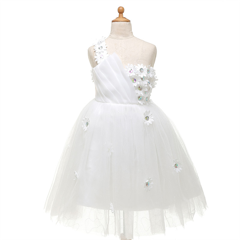 White One Shoulder   Flower     Girl     Dresses   Stunning Tulle Pageant   Dresses   For Little   Girls   Brithday Gowns