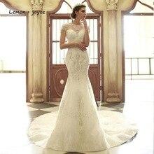 Lemon joyce vestidos de novia de lujo, elegantes vestidos de novia de sirena, cuello redondo, ilusión de abalorios de cristal, bata de Dubái, 2020
