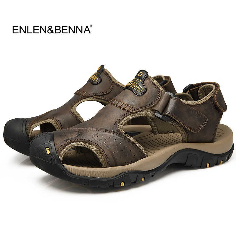 Brand Protect Outdoor Casual Driving Beach Men Sandals Quality Summer Genuine Leather Soft Sole Men Shoes Plus Size 46 Sandales