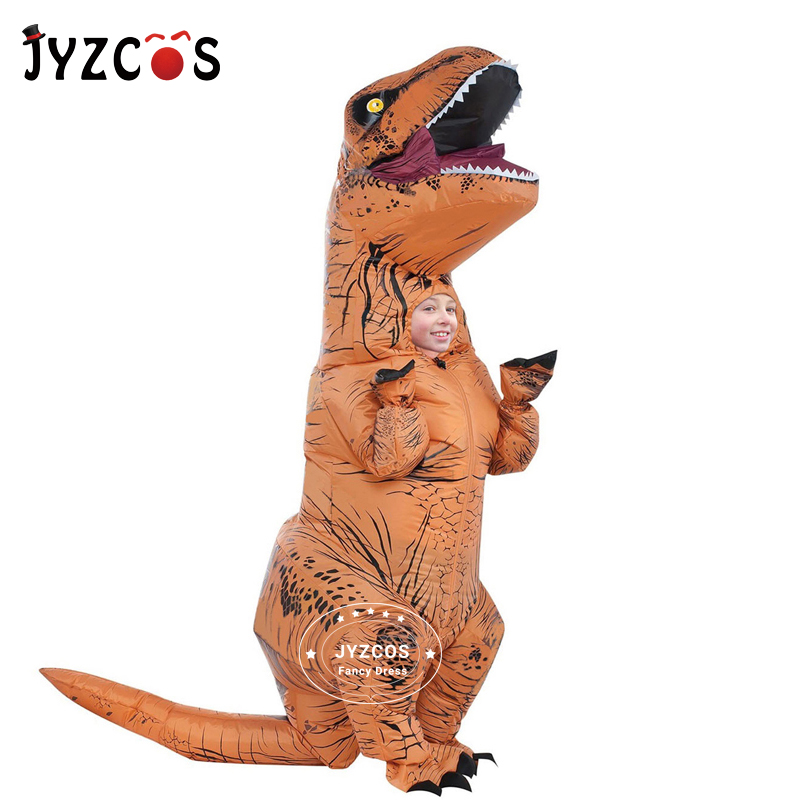 JYZCOS Kid Adult Inflatable Costume Dinosaur Costume Dino Cartoon Fancy Dress T-Rex Costume Blow Up Animal Mascot Cosplay