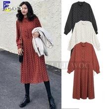 2019 Spring Loose Plus Size Clothes Dresses Women Korean Style Design Temperament Lady Printed Vintage Polka Dot Dress 4XL 3XL